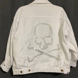 LF denim skull rhinestone jacket